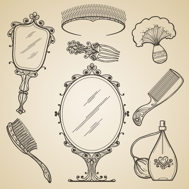Ręcznie Rysowane Elementy Vintage Piękna I Retro Makijaż. Moda Doodle I Szkic Lustro. Vintage Uroda Retro Makijaż Wektorowe Ikony Darmowych Wektorów