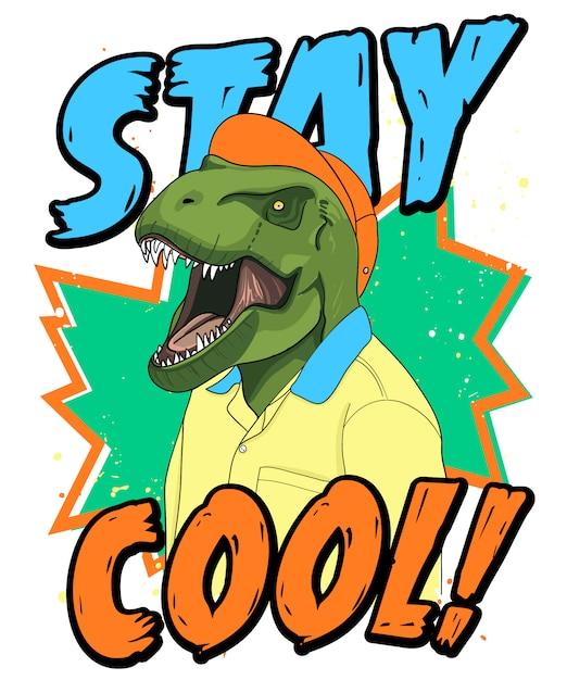Ręcznie Rysowane Fajna Ilustracja Dinozaura, Wektor. Premium Wektorów
