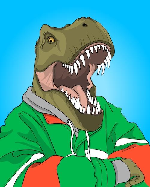 Ręcznie rysowane fajna ilustracja dinozaura Premium Wektorów