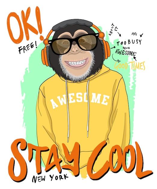 Ręcznie Rysowane Fajne Ilustracja Małpa, Wektor. Premium Wektorów