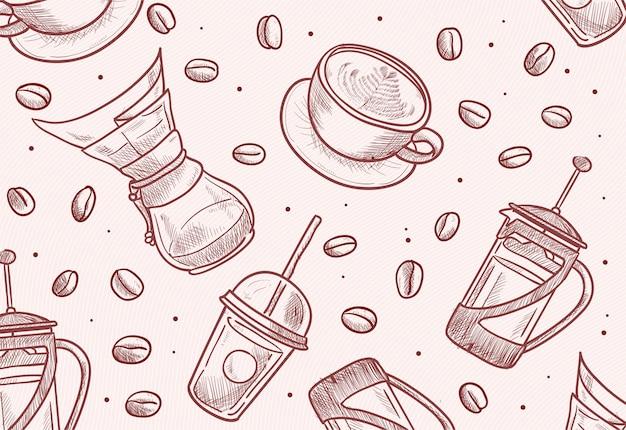 Ręcznie Rysowane Fasolki, Kubek, Prasa Francuska, Chemex, Dripper, Ilustracja Kubka Na Wynos Premium Wektorów