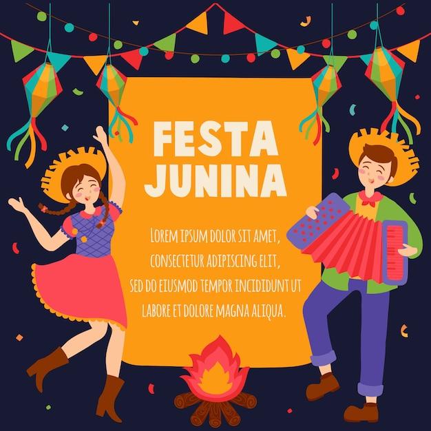 Ręcznie Rysowane Festa Junina Brazylia June Festival. Festiwal Wiejski W Ameryce łacińskiej. Premium Wektorów