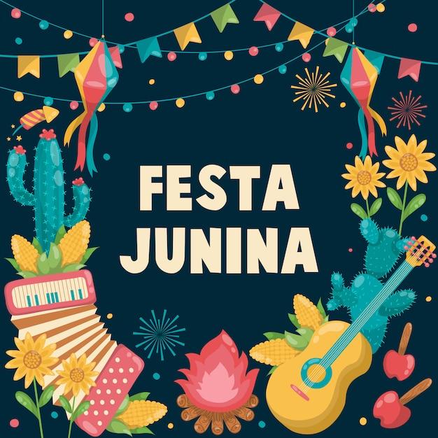 Ręcznie Rysowane Festa Junina Brazylia June Festival. święto Folkloru. Gitara, Akordeon, Kaktus, Lato, Słonecznik, Ognisko, Flaga Premium Wektorów