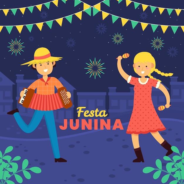 Ręcznie Rysowane Festa Junina Ludzi Grających Muzykę I Taniec Darmowych Wektorów