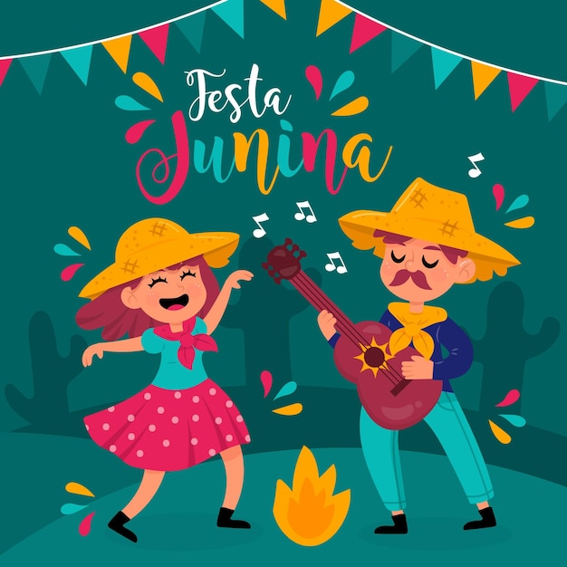 Ręcznie Rysowane Festa Junina Ludzi Tańczących W Nocy Darmowych Wektorów