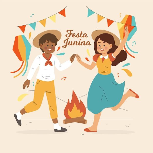 Ręcznie Rysowane Festa Junina Taniec I Szczęście Darmowych Wektorów