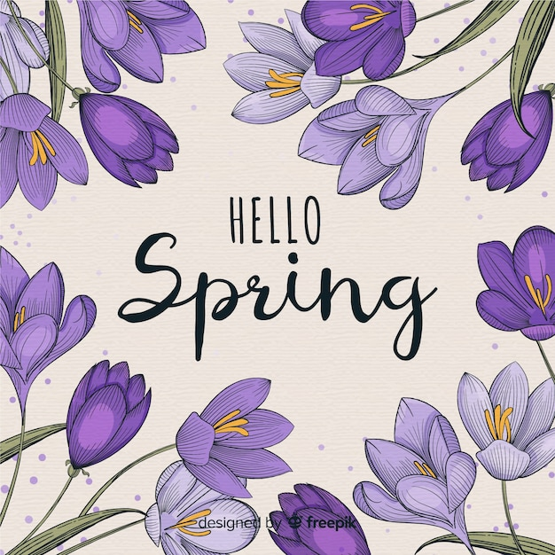 Ręcznie rysowane fioletowe tło wiosna Darmowych Wektorów