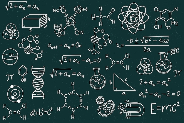 Ręcznie Rysowane Formuł Naukowych Na Tablicy Darmowych Wektorów