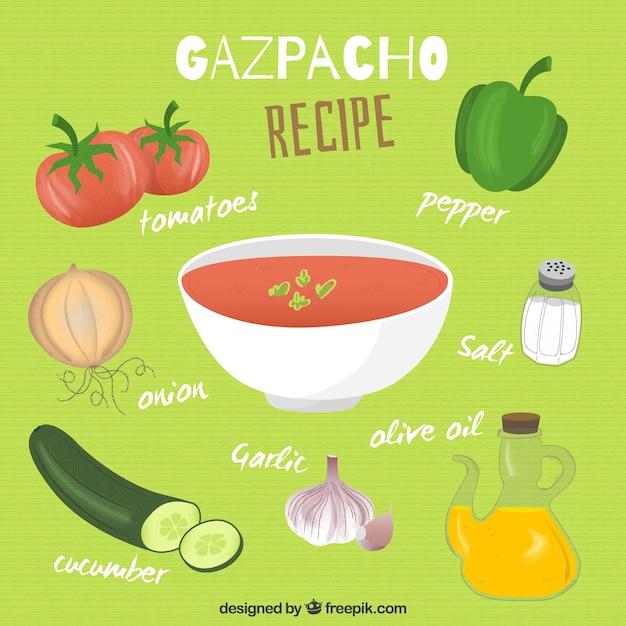 Ręcznie rysowane gazpacho przepis Darmowych Wektorów