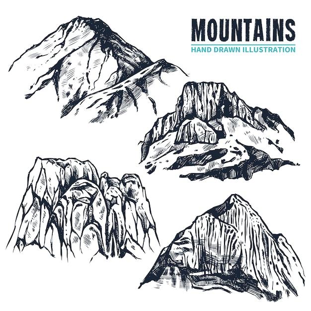 Ręcznie rysowane góry konturów Darmowych Wektorów