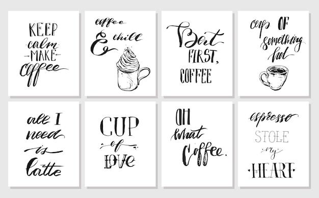 Ręcznie Rysowane Grafiki Wektorowe Tuszem Plakaty Lub Kolekcja Kart Z Kawy Odręcznie Cytaty Nowoczesnej Kaligrafii Na Białym Tle. Projekt Dekoracji Dla Sho, Pieczęć, Logo, Marki. Premium Wektorów