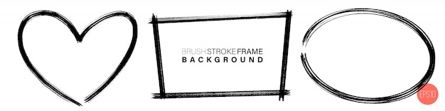 Ręcznie Rysowane Grunge Ramki Różne Kształty. Premium Wektorów
