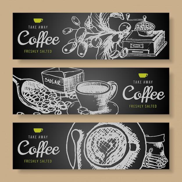 Ręcznie rysowane gryzmoły zestaw banner kawy Premium Wektorów