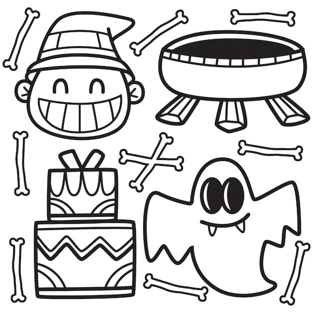 Ręcznie Rysowane Halloween Doodle Ilustracja Premium Wektorów