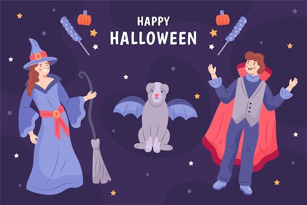 Ręcznie Rysowane Halloween Ilustrowane Tło Darmowych Wektorów