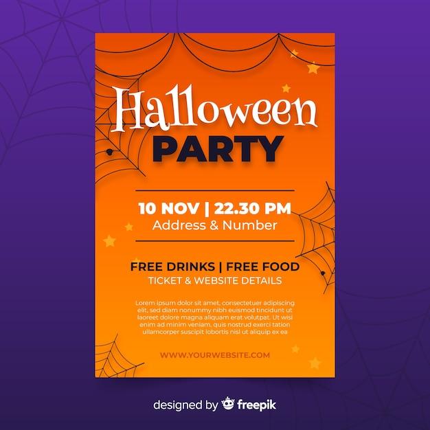 Ręcznie Rysowane Halloween Party Plakat Szablon Darmowych Wektorów