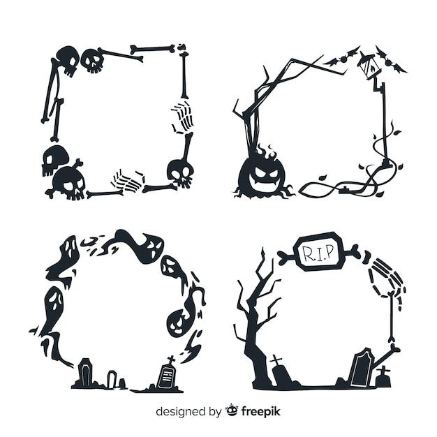 Ręcznie rysowane halloween ramki Darmowych Wektorów