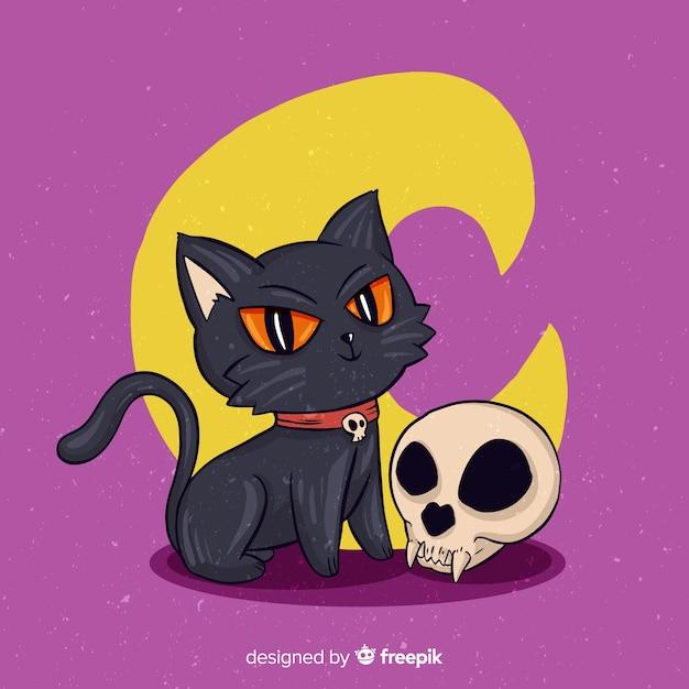 Ręcznie rysowane halloween szekspirowski kot Darmowych Wektorów