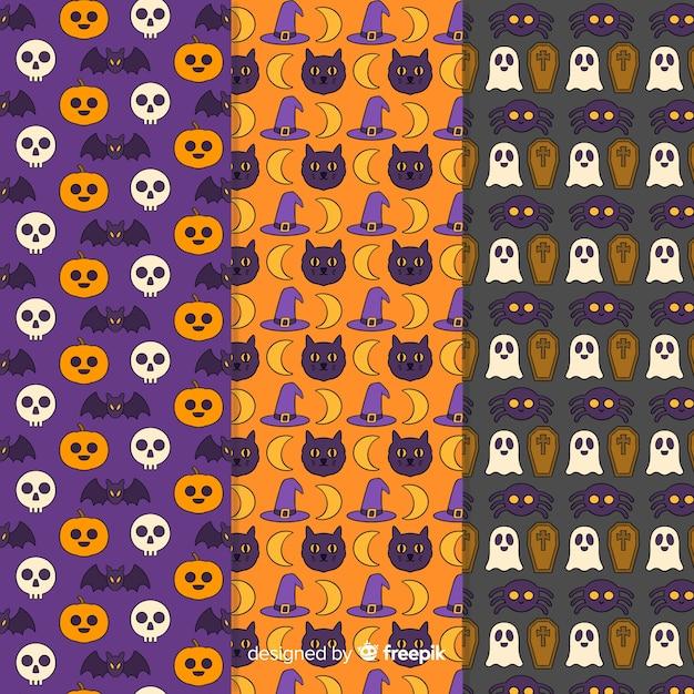 Ręcznie rysowane halloween wzór kolekcji Darmowych Wektorów