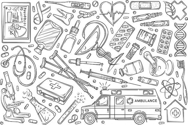 Ręcznie Rysowane Helthcare Zestaw Doodle Tło Premium Wektorów