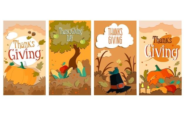 Ręcznie Rysowane Historie Na Instagramie Z Okazji święta Dziękczynienia Darmowych Wektorów