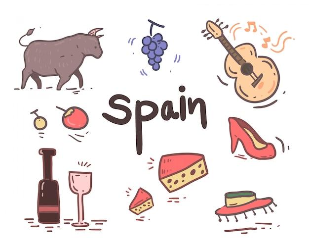 Ręcznie rysowane ikony hiszpania Premium Wektorów