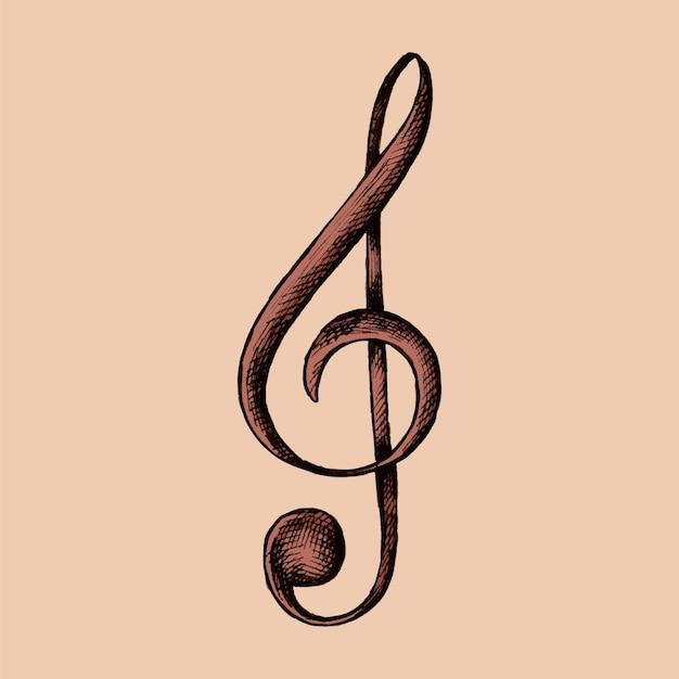 Ręcznie rysowane ilustracja clef muzyki uwaga Premium Wektorów