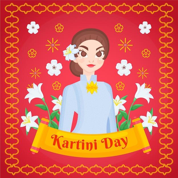 Ręcznie Rysowane Ilustracja Dzień Kartini Premium Wektorów