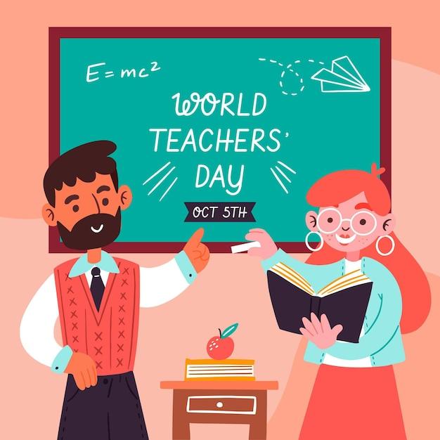Ręcznie Rysowane Ilustracja Dzień Nauczyciela Darmowych Wektorów