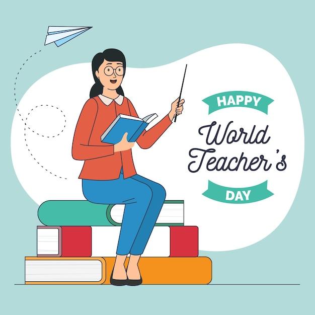 Ręcznie Rysowane Ilustracja Dzień Nauczyciela Premium Wektorów