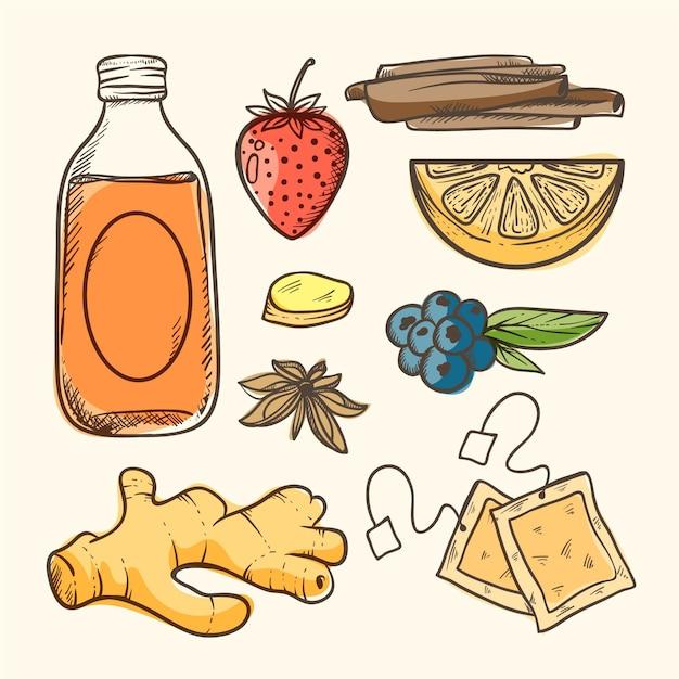 Ręcznie Rysowane Ilustracja Herbaty Kombucha Ze Składnikami Darmowych Wektorów