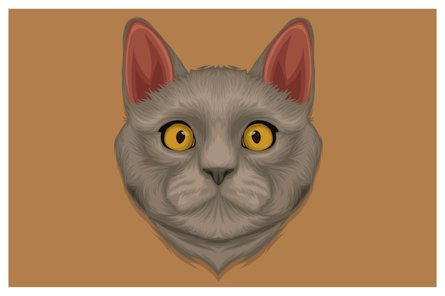 Ręcznie Rysowane Ilustracja ładny Kot Angora Premium Wektorów