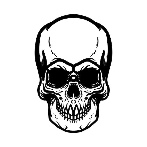 Ręcznie Rysowane Ilustracja Ludzka Czaszka Na Białym Tle. Element Na Logo, Etykietę, Godło, Znak, Plakat, Koszulkę. Wizerunek Premium Wektorów