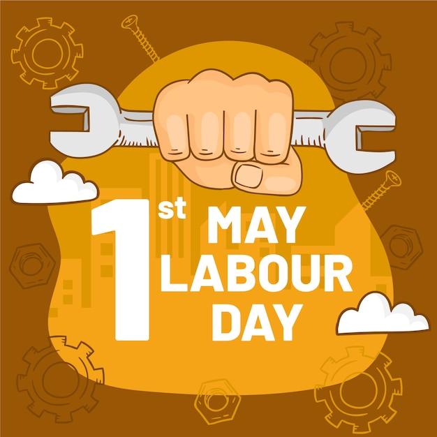 Ręcznie Rysowane Ilustracja Na Dzień Pracy Darmowych Wektorów