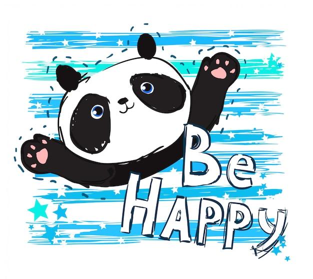 Ręcznie Rysowane Ilustracja Panda Premium Wektorów
