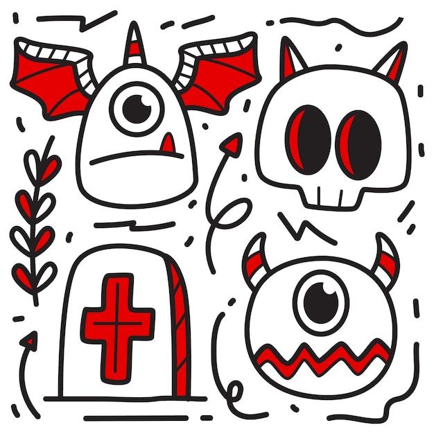 Ręcznie Rysowane Ilustracja Projekt Doodle Halloween Premium Wektorów