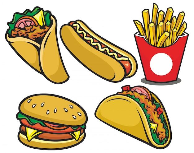 Ręcznie Rysowane Ilustracja Restauracja Fast Food Premium Wektorów