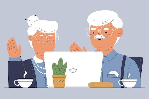 Ręcznie Rysowane Ilustracja Seniorów Przy Użyciu Technologii Darmowych Wektorów