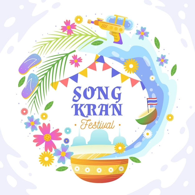 Ręcznie Rysowane Ilustracja Songkran Darmowych Wektorów