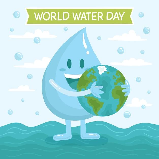 Ręcznie Rysowane Ilustracja światowego Dnia Wody Darmowych Wektorów