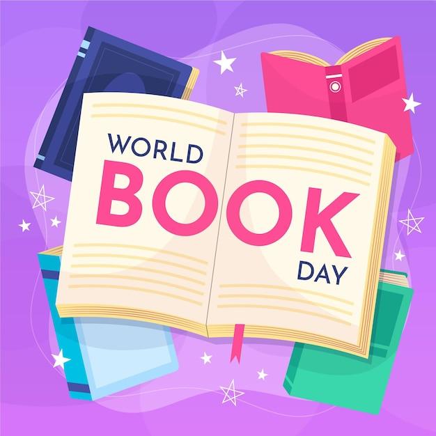 Ręcznie Rysowane Ilustracja światowy Dzień Książki Z Otwartą Książką Darmowych Wektorów