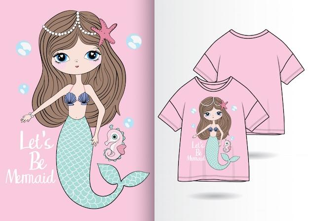Ręcznie rysowane ilustracja syrenka z t shirt design Premium Wektorów