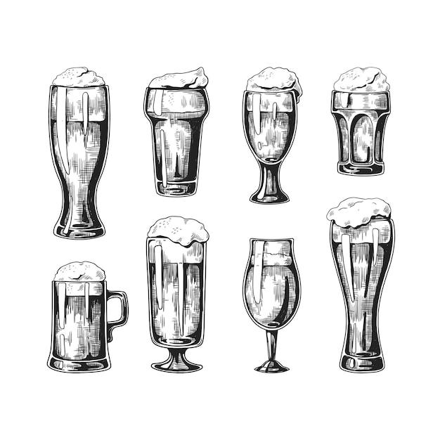 Ręcznie Rysowane Ilustracja Szklanki Piwa Premium Wektorów