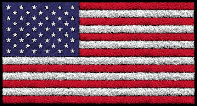 Ręcznie Rysowane Ilustracja W Stylu Kredą Flagi Usa Premium Wektorów