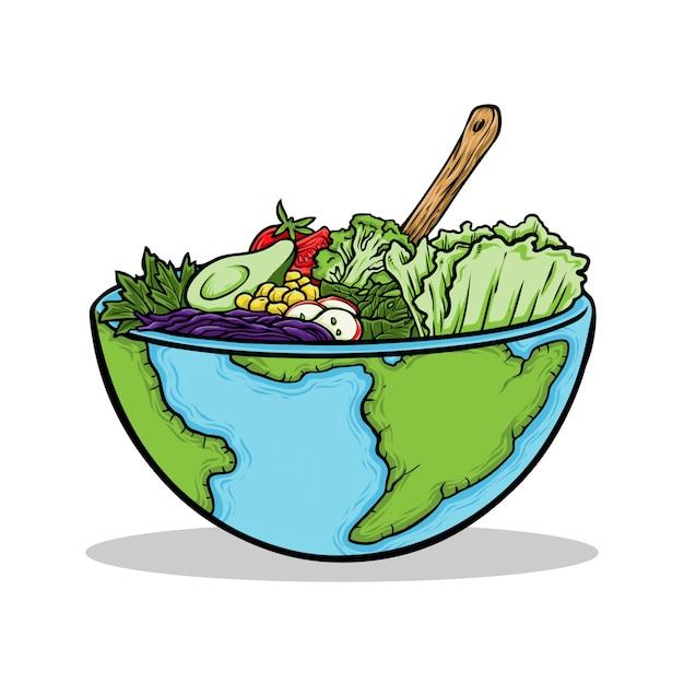 Ręcznie rysowane ilustracja wegański światowy dzień żywności Premium Wektorów