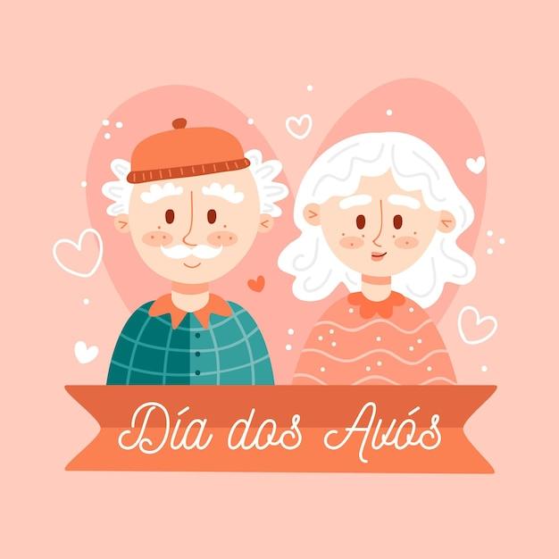 Ręcznie Rysowane Ilustracja Z Dziadkami Dia Dos Avós Darmowych Wektorów