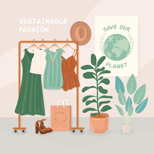 Ręcznie Rysowane Ilustracja Zrównoważonej Mody Z Wieszakiem I Ubraniami Darmowych Wektorów