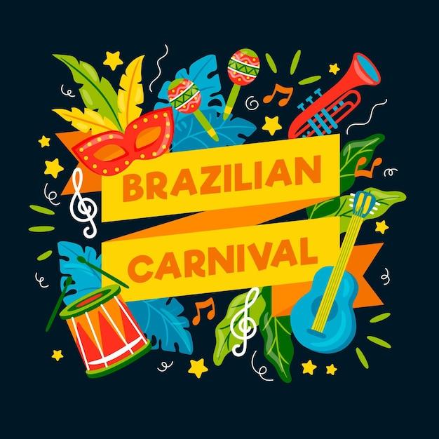 Ręcznie Rysowane Ilustracje Brazylijskiego Karnawału Darmowych Wektorów