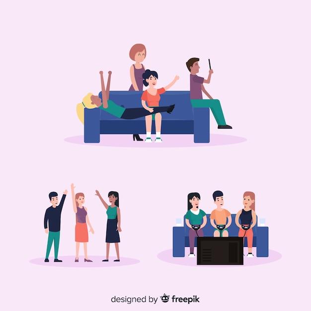 Ręcznie rysowane ilustracje dzień przyjaźni Darmowych Wektorów