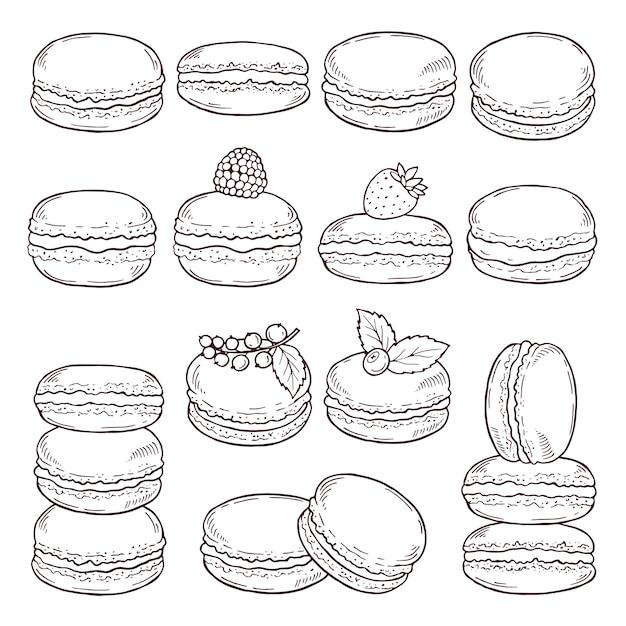 Ręcznie Rysowane Ilustracje Kuchni Paryskiej. Premium Wektorów